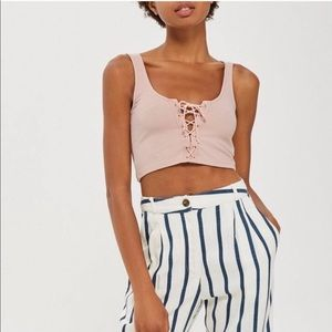 Pink lace up crop
